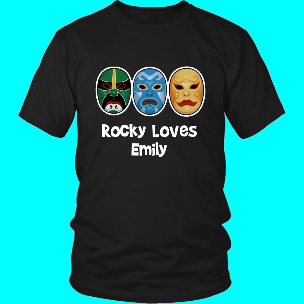 Danny zuko black t shirt - 3 Ninjas Rocky Loves Emily Masks T Shirt