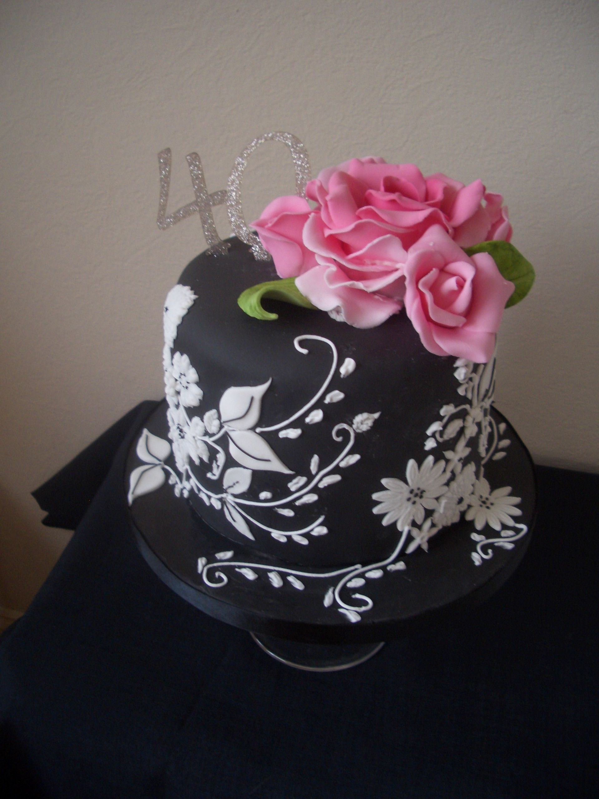 Pink Ombre Cake With Black And White Fondant And Gumpaste Flowers