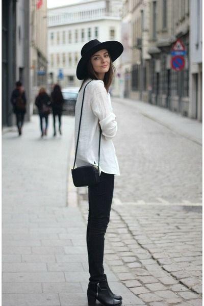 Black Boots Black Jeans Black Hat White Shirt Black Bag