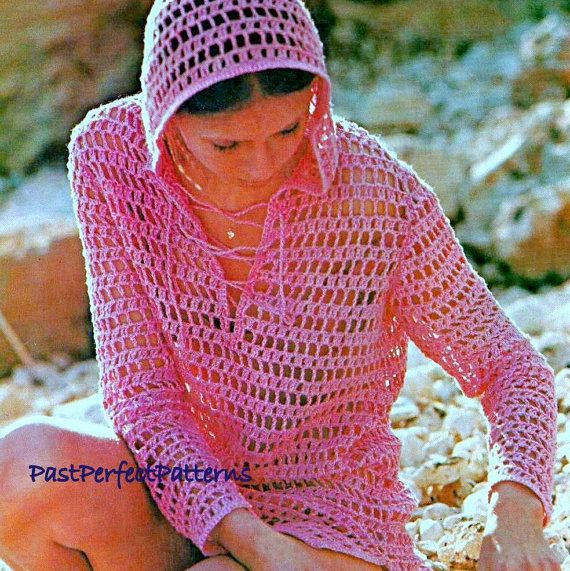 INSTANT DOWNLOAD PDF CROCHET PATTERN for a Mesh Tunic Hoodie This ...