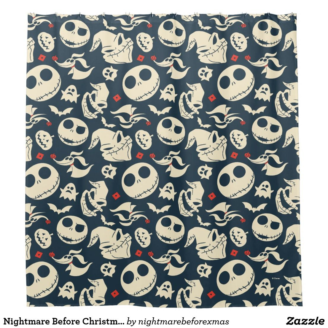 Nightmare Before Christmas   Oh What Joy - Pattern Shower Curtain ...