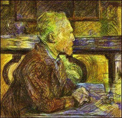 TOULOUSE-LAUTREC Henri comte de Toulouse-Lautrec-Monfa (1864 - 1901) - van Gogh with (nearly empty) Absinthe glass