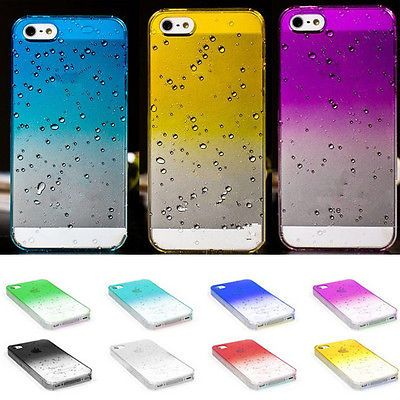Fashion Ultra Slim Raindrop Crystal Transparent Plastic Hard Back Case For Apple