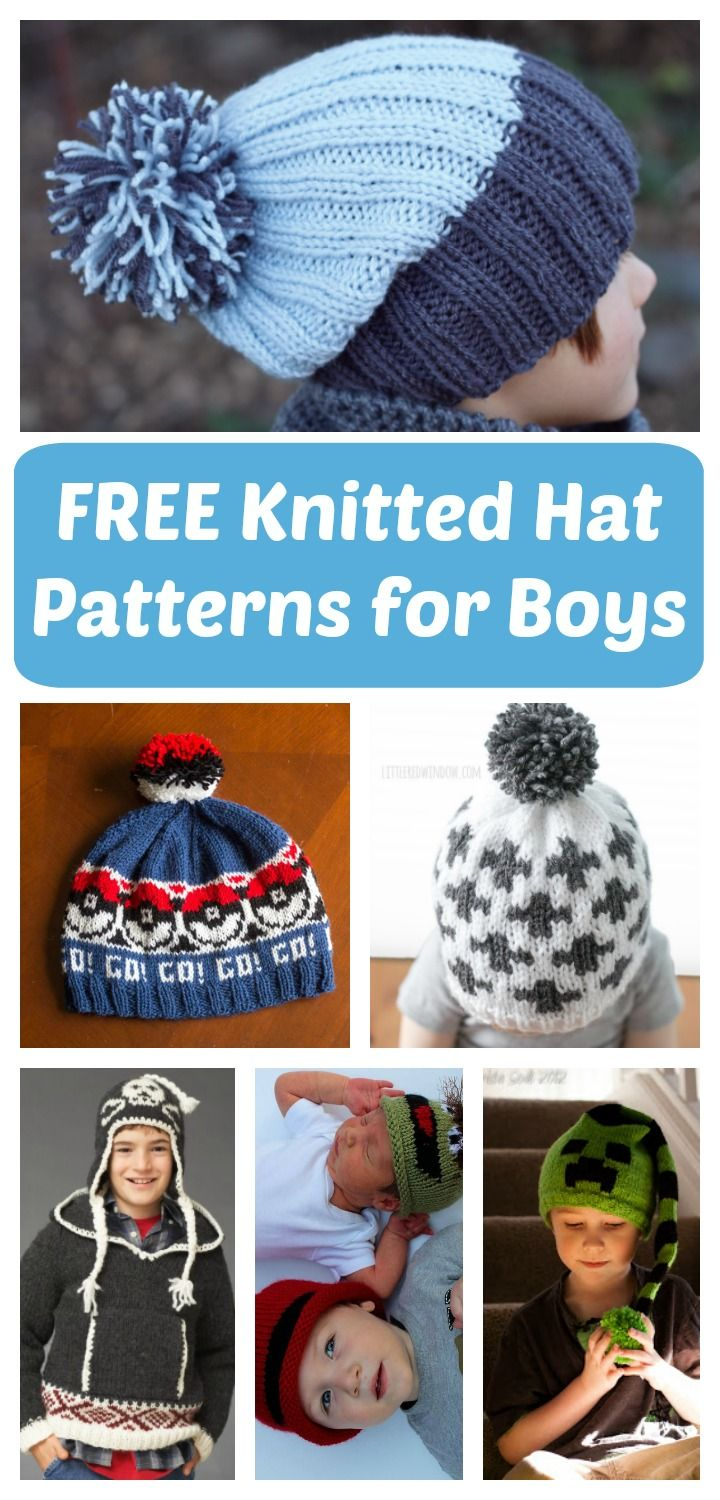 The HUGE List Of Free Knitted Hat Patterns For Boys | Free knitted ...