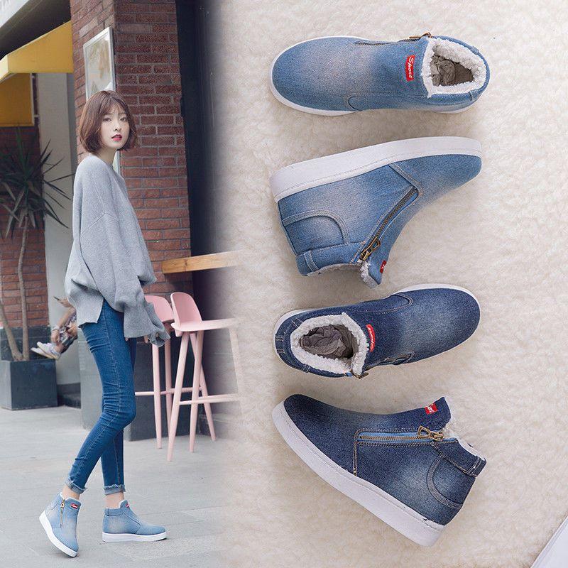 a2795e4aaff Winter Shoes Women Denim Snow Boots Platform Warm Fleeces Classic High Top   Unbranded  Booties