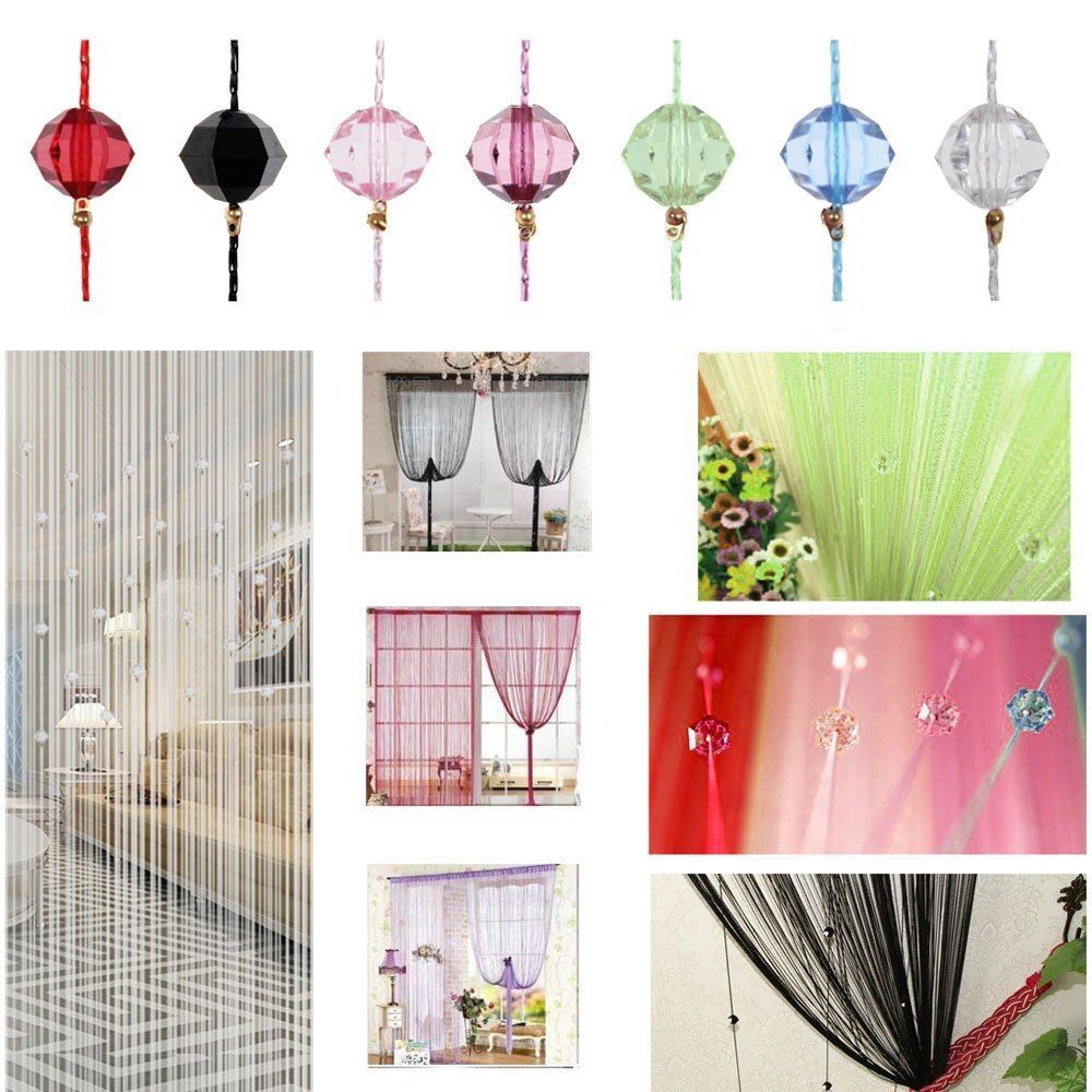 Beaded window panels - Beaded String Curtain Door Divider Crystal Beads Tassel Screen Panel Home Decor Unbranded