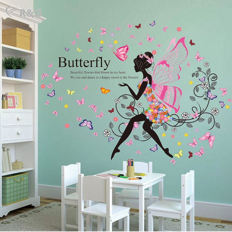 Find More Wall Stickers Information About 2016 New Butterfly Girl Wall  Stickers Home Decor Creative Flower Part 11