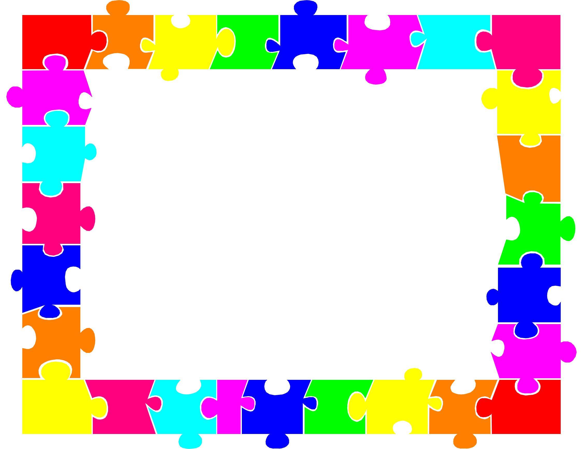 Autism Puzzle Piece Border Clip Art