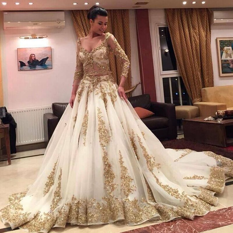 shop vestidos de novia 2015 Long Sleeve Big Skirt Gold Lace ...