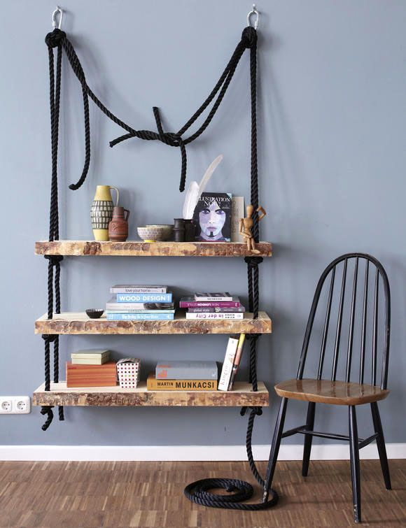 Hängeregal bücher selber bauen  hängeregal aus holz selber bauen | DIY | Möbel, Interieur, Ideen ...