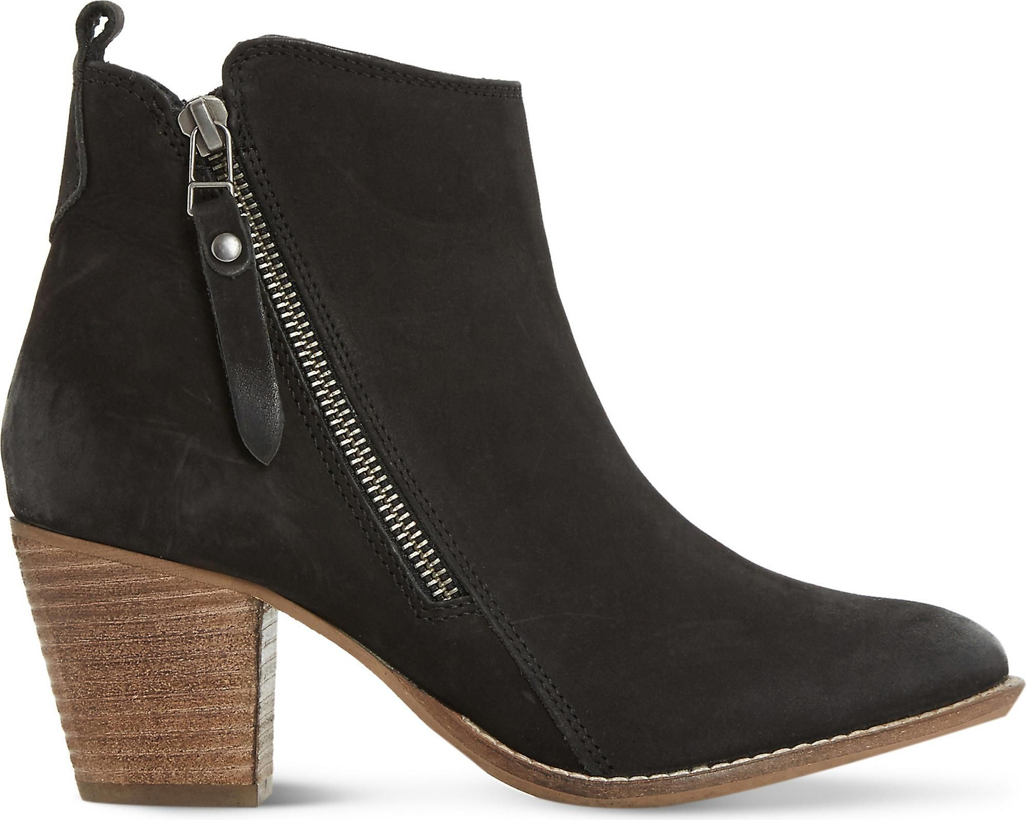 Dune Black Pontoon Leather Ankle Boots