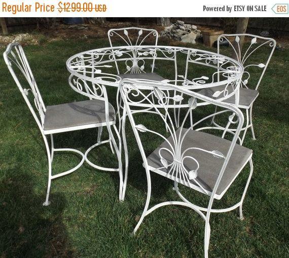 vintage wrought iron white garden patio