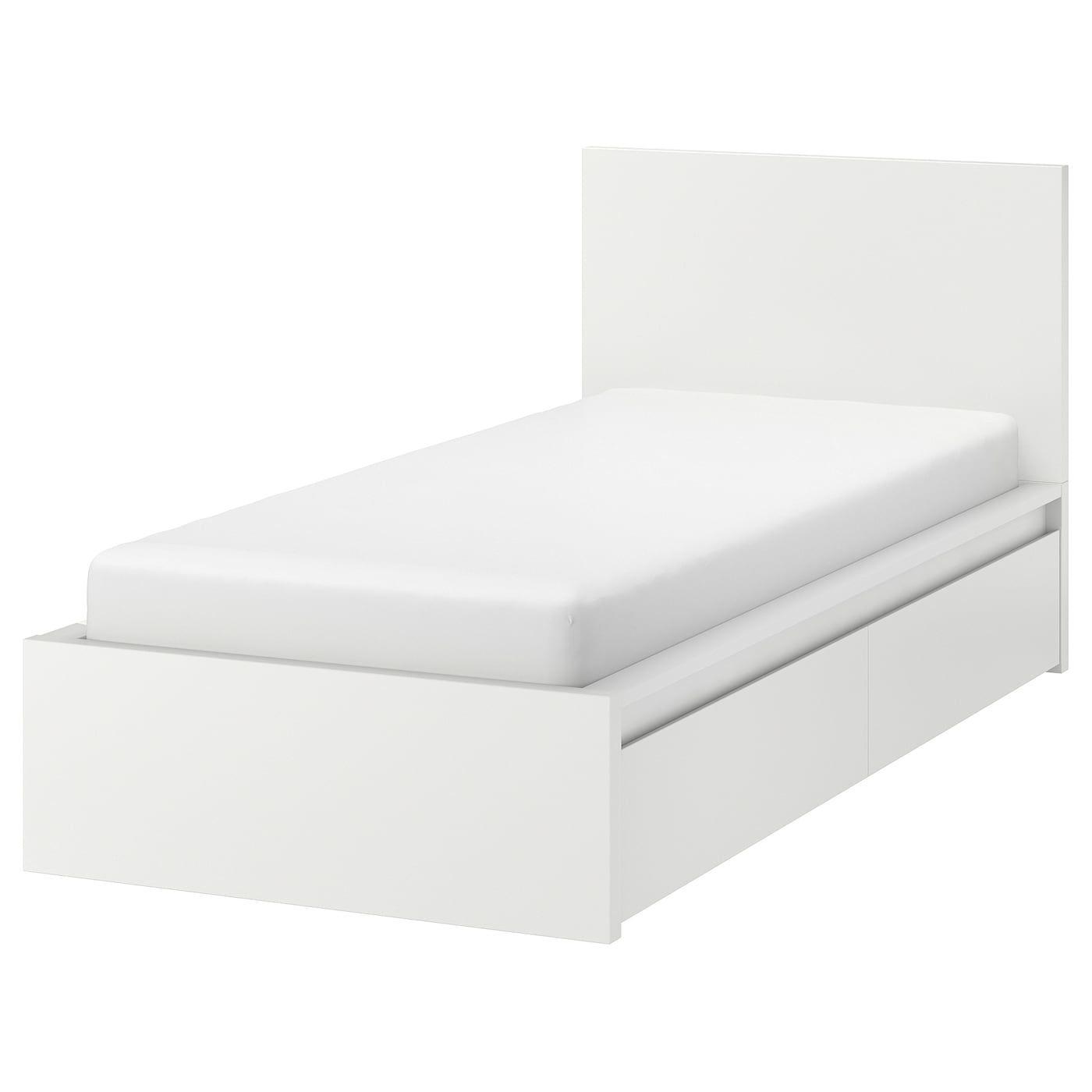 Malm Bedframe Hoog Met 2 Bedlades Wit Lonset 90x200 Cm Hoge