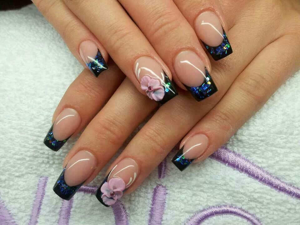 Hard gel french with 3-pointer flowers. | Nail Art I love ...