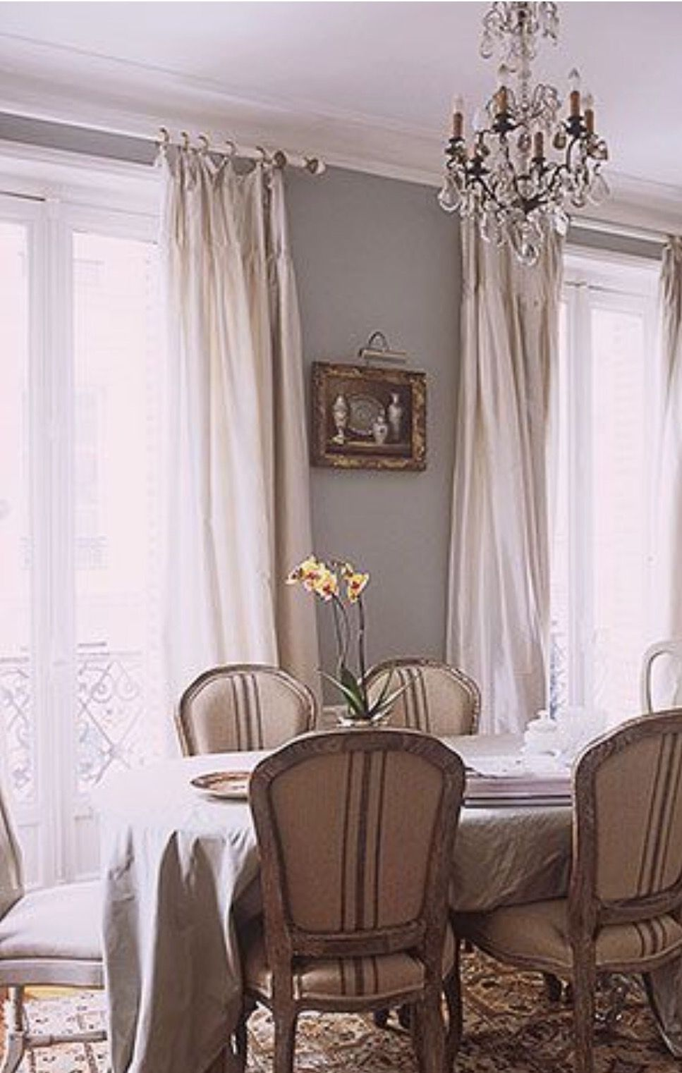Dining room country curtains - French Cloth Chairs French Blue Walls Silk Curtains Wrought Iron And Crystal French Dining Roomsbeautiful
