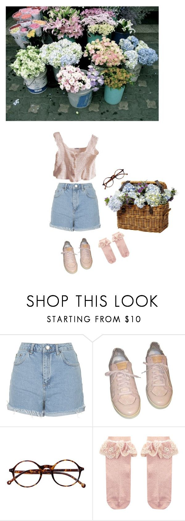 """Buying some flowers"" by noodlezz ❤ liked on Polyvore featuring Topshop, Louis Vuitton, Retrò, Monsoon, vintage, crochet, glasses and short"
