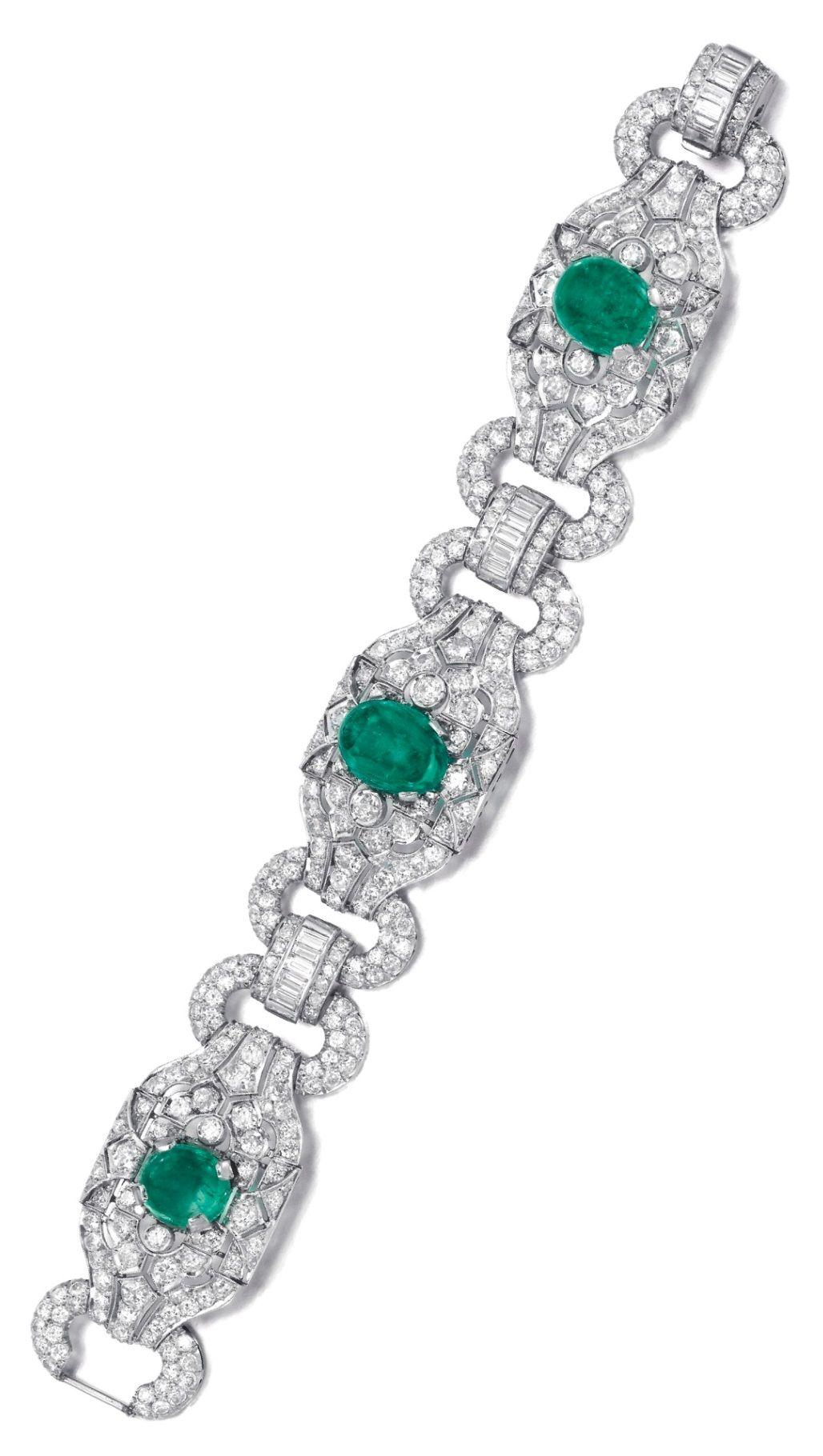 An art deco emerald and diamond bracelet s of geometric