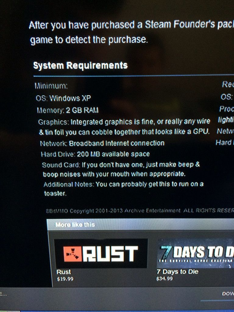 What are the Rust system requirements