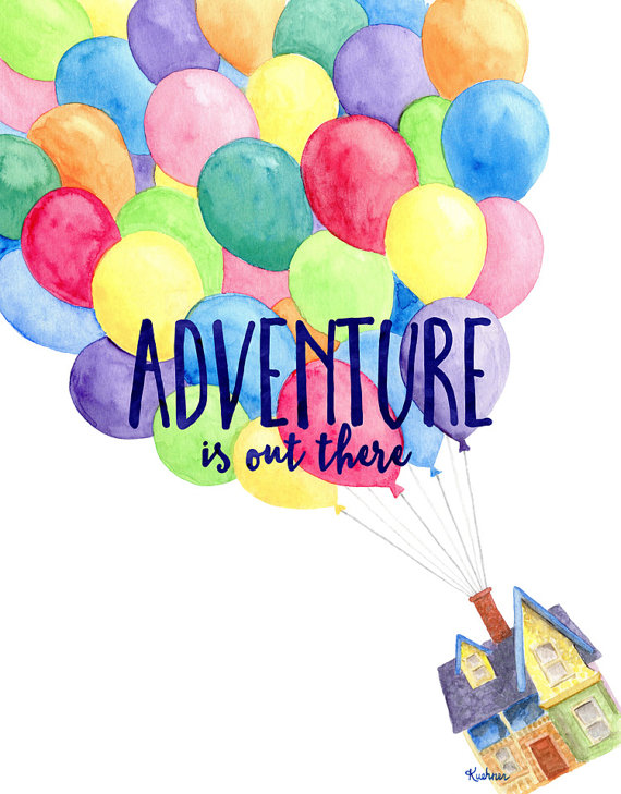 Adventure Is Out There Art Print Up Inspired Watercolor Etsy Disney Paintings Disney Canvas Watercolor Disney