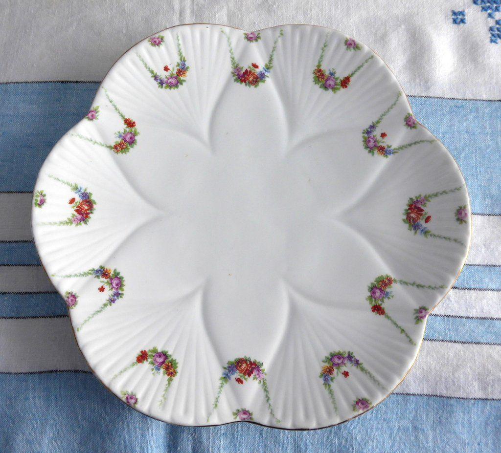 Edwardian Shelley Cake Plate Sandwich Server Roses Festoons Dainty Wileman 1909