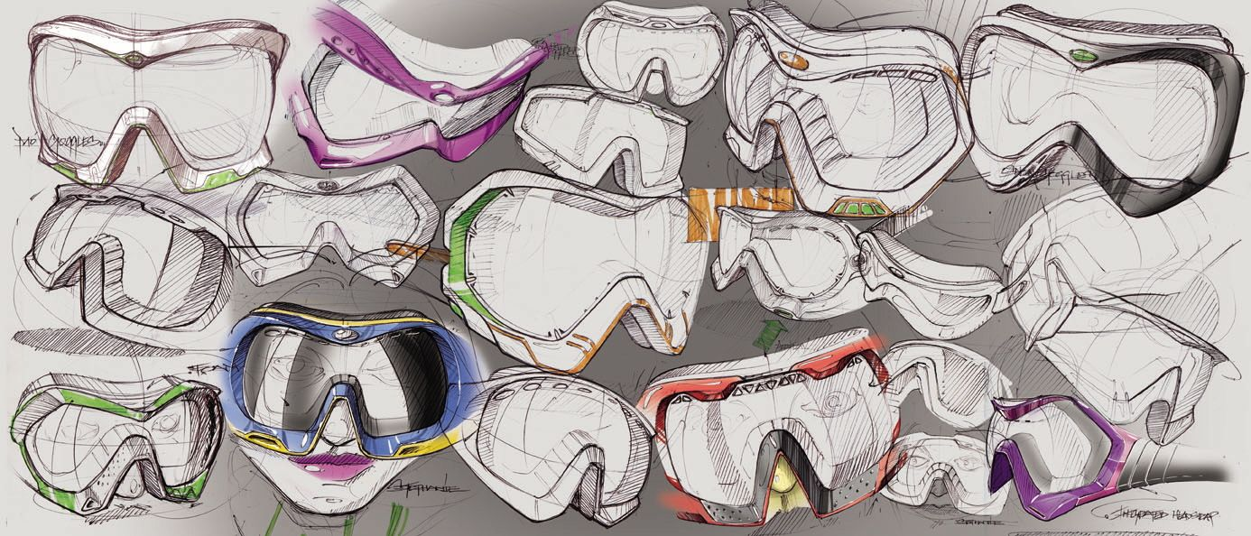 Ski goggle sketches ID Sketches