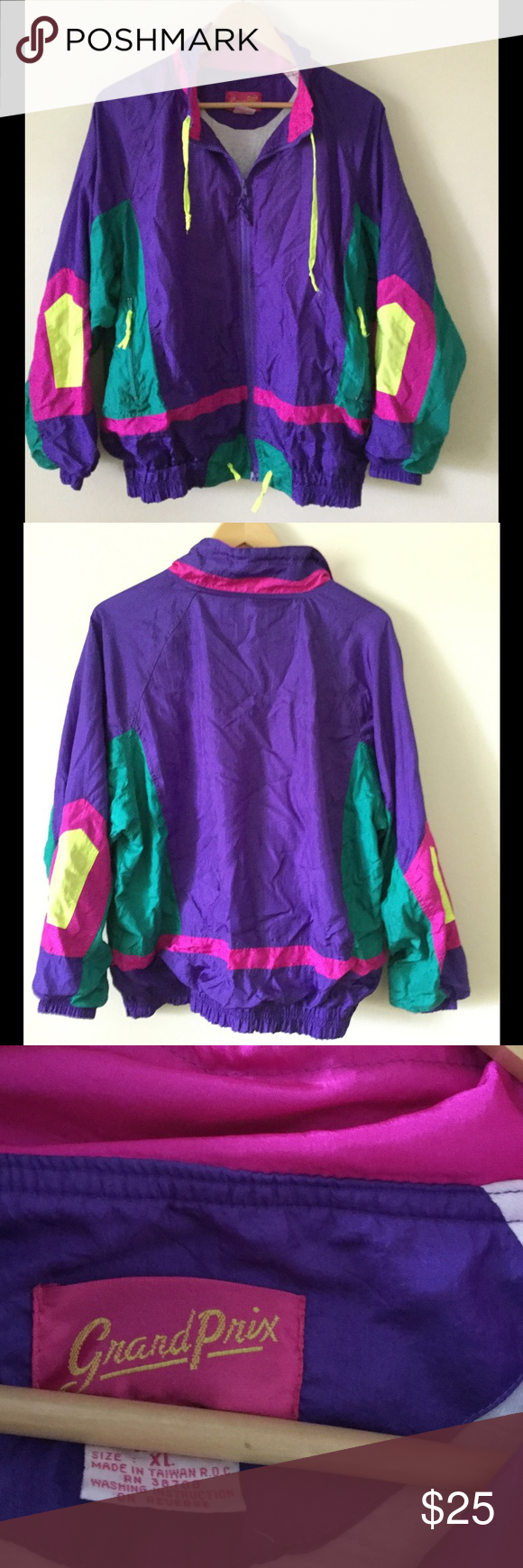 """Vintage windbreaker Super sweet colorful vintage windbreaker. Lightweight, retro and comfortable. This can roll up into a bag or suitcase so easily. Brand is """"Grand Prix"""" and tag says XL but since it's vintage sizing, I think this would best fit a size small or medium. I also have the matching pants, if interested, please ask. Vintage Jackets & Coats"""