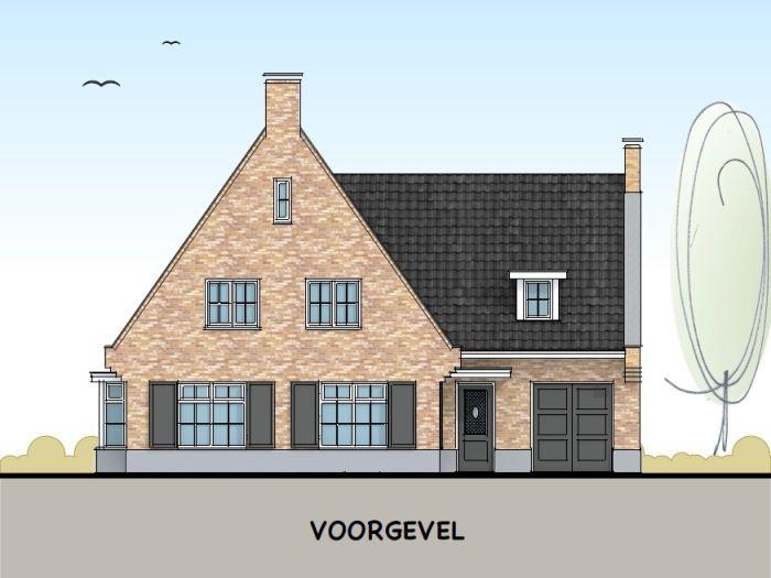 Klassieke woning met t kap in engelse stijl voorgevel huis model