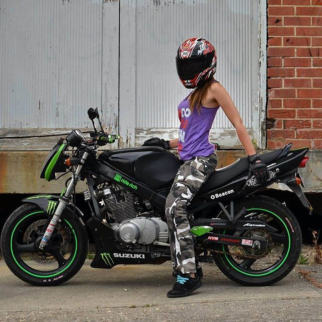 a stunt girl in the making @cheysnuts69 , she rides a Suzuki GS500 with the fairings removed and a ...