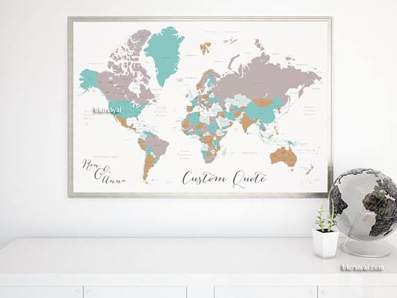 Personalized world map print anniversary t for him travel lover