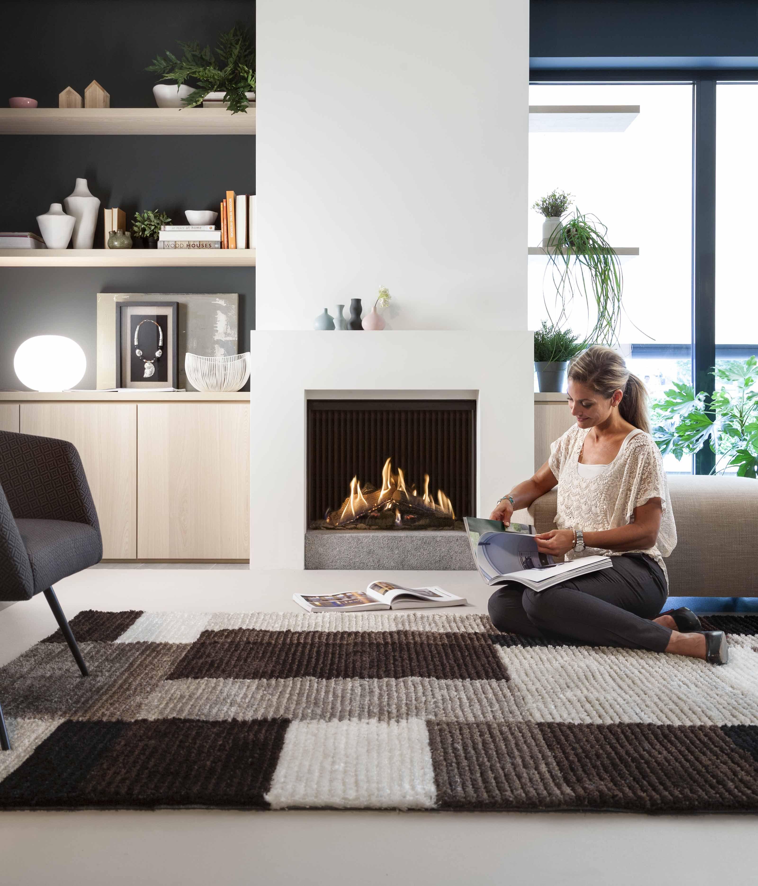 Modernes Design Raum Kaminofen Wohnzimmer Ideen Sitzen Wohnungen Lounges Gas Fires Tim O brien