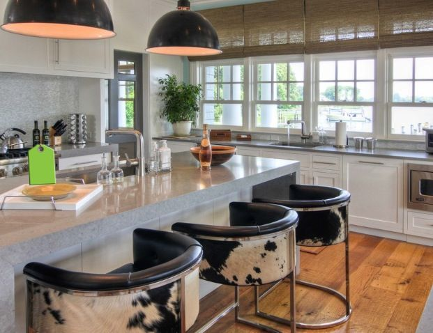 If my love for these bar stools make me a hick, then a hick I will be...LOVE LOVE LOVE Nice balance in a modern kitchen.