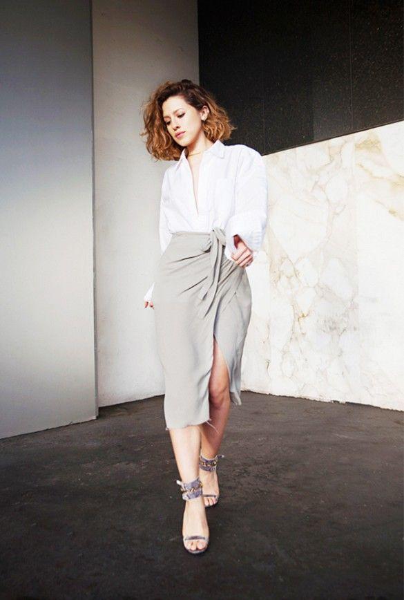 White button-down shirt + grey skirt