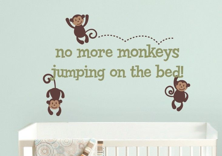 Luxury Monkeys Jumping on the Bed Wall Decal Monkey Vinyl Decal Baby Nursery Boy Girl Ideas - Amazing baby room decals Modern