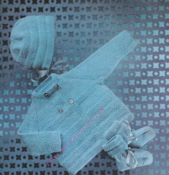 4b1cd1ed3 Baby Matinee Jacket Bonnet and Bootees 4ply by avintagescot