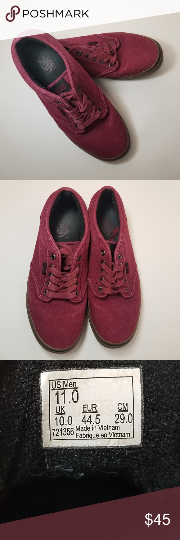 ab114fa6b5bfb3 Vans Men s Atwood Skate Shoe Brand  Vans Style  Atwood Skate Shoe Size  11  Color  Cordovan Gum (Maroon) Material  Canvas and Rubber Condition  Used -  Good ...