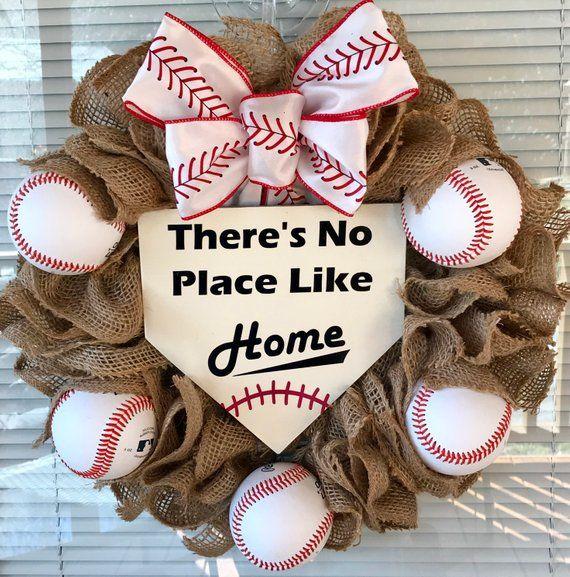 Photo of Baseball Wreath, Christmas Gift, Burlap Wreath, Front Door Wreath, Sports Wreath,  Coach's Gift, No Place Like Home, Summer Wreath
