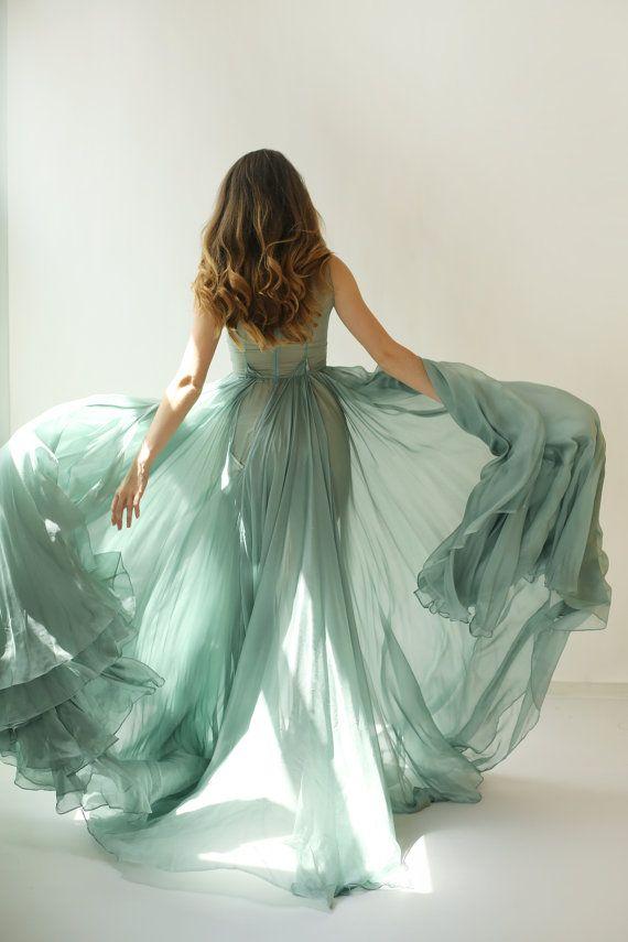 Colleen - long muted turquoise green silk chiffon dress ...