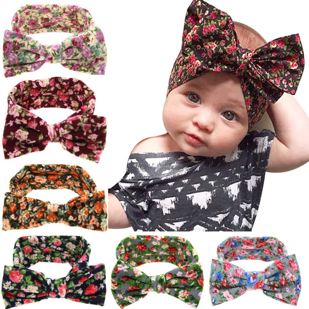 84e1b637880 Cute Newborn Baby Pastoral Style Printing Flower Girls Butterfly Knot  Elasticity Headbands Children Hair Accessories Hair