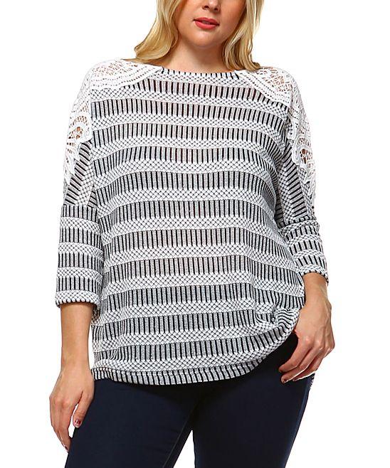 White & Black Stripe Lace-Shoulder Top - Plus
