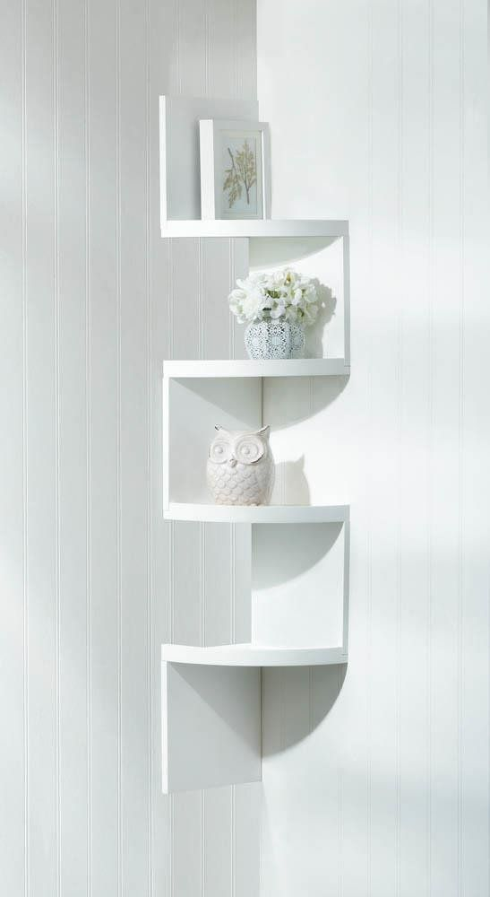 White 4 Tier Corner Shelf Shelves Corner Wall Shelves Corner
