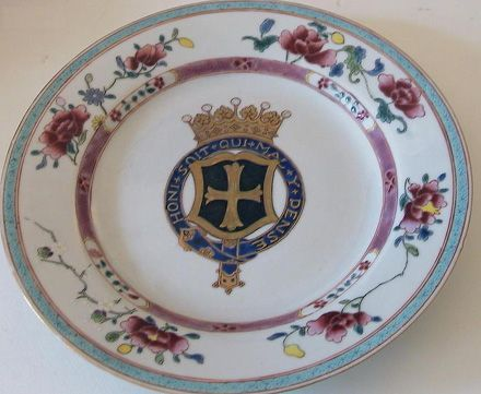 Chinese porcelain plate with arms and garter of 6th Earl of Harewood.