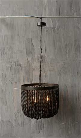 Metal Chandelier W Wood Beads 3 Lights Black With Images Wood Bead Chandelier Wooden Bead Chandelier Metal Chandelier