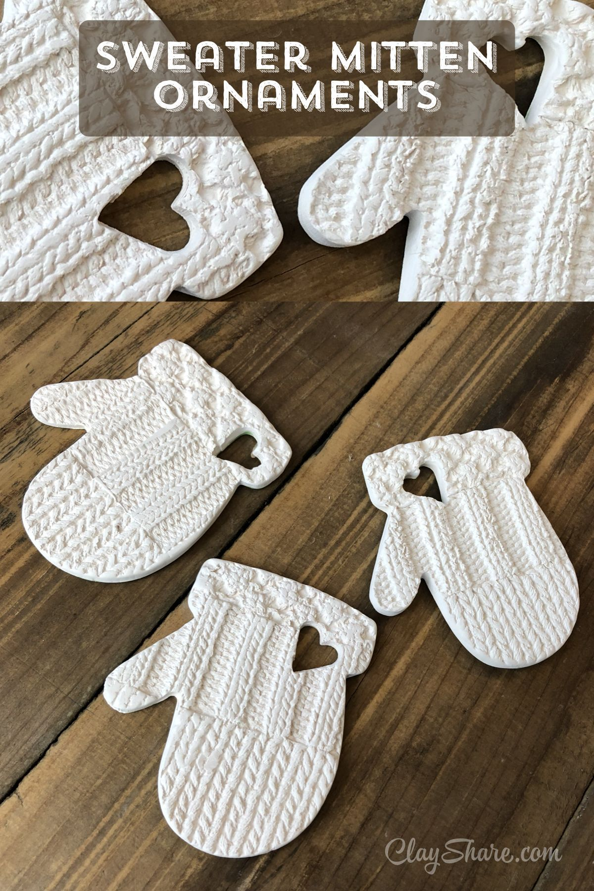 Mitten Ornaments #potteryclasses Learn how to make these super cute mitten ornaments with ClayShare. We have over 200 online pottery classes, weekly live broadcasts, templates, glaze recipes and more, sign up for free today! #onlineclasses