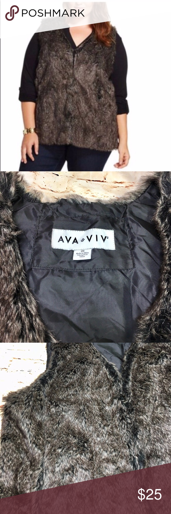 e9bbdb64df9 Ava   Viv  Ashy Brown Faux Fur Plus Size Vest This is a stunning ...