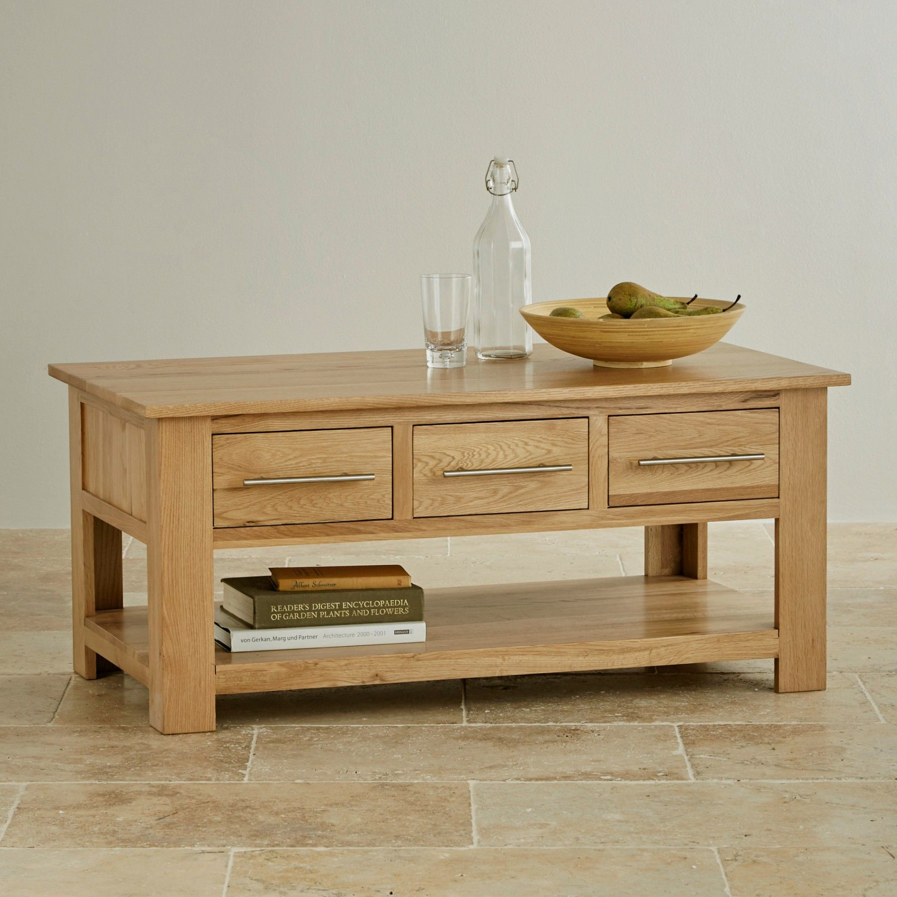 The Rivermead Natural Solid Oak 6-Drawer Storage Coffee Table is the ...