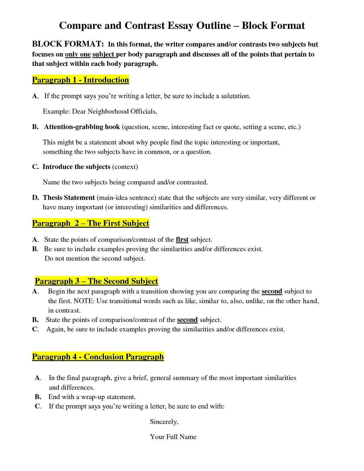 Gentil Comparing And Contrasting Essays Outline For Compare Contrast Essay