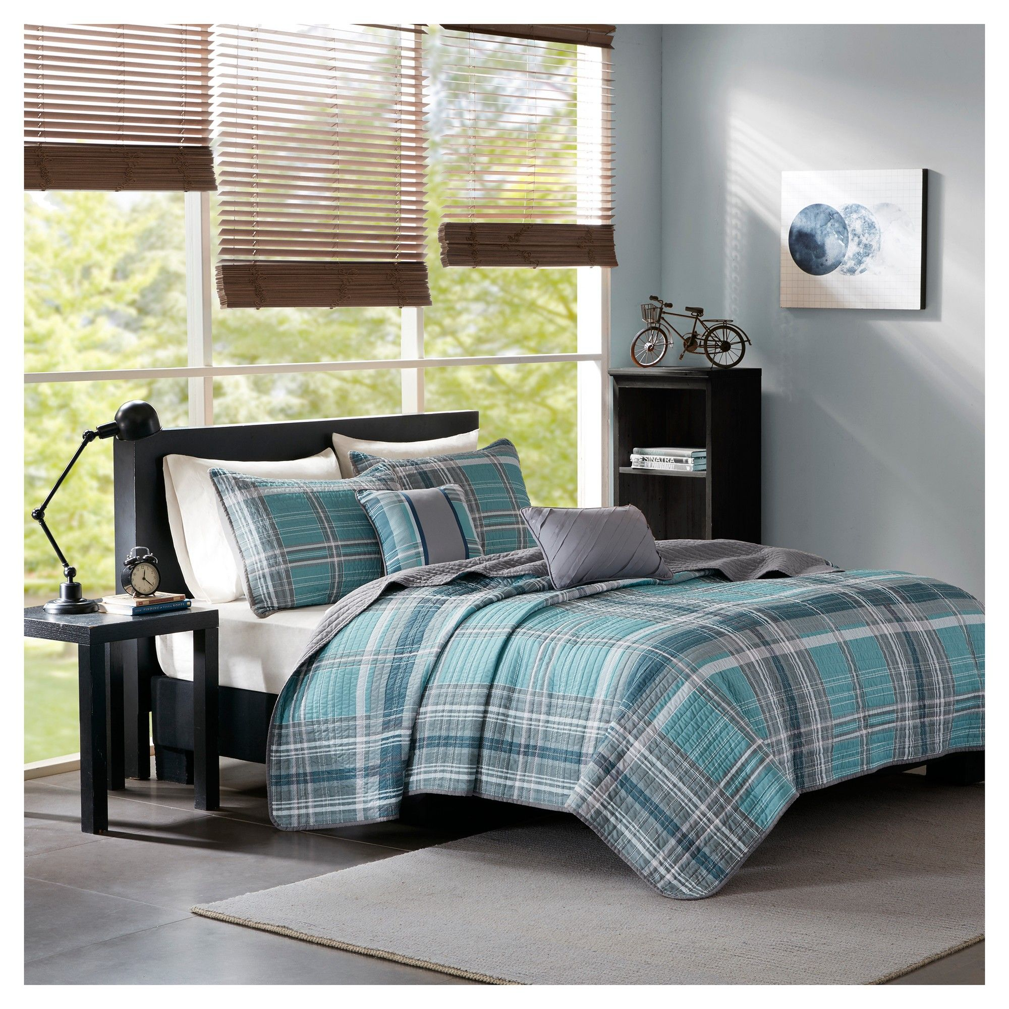 New Blue and Gray Twin Comforter