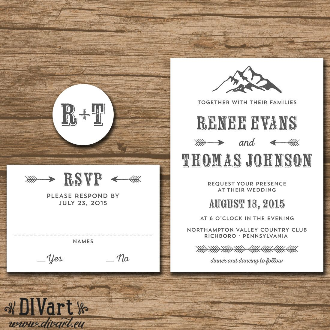 Rustic Mountain Wedding Invitation Suite Response Card Monogram