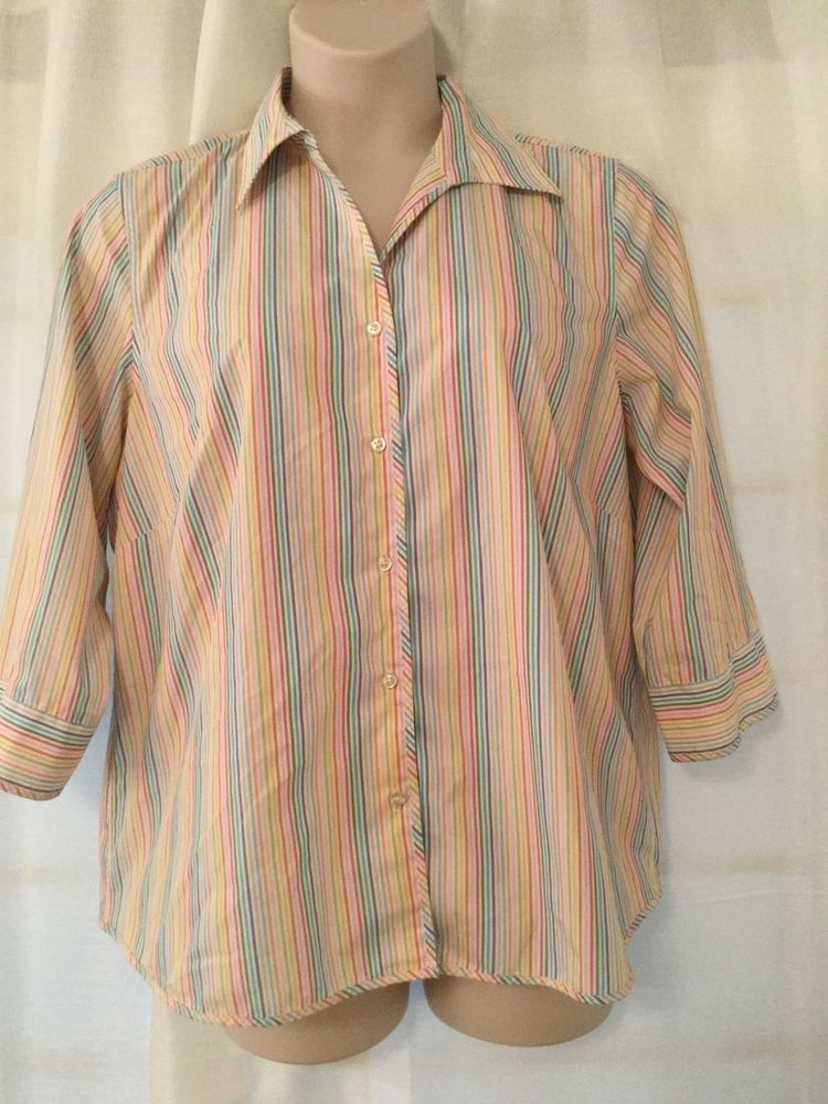 Lands End Womens Plus 18w Red Yellow Blue Striped Button Blouse