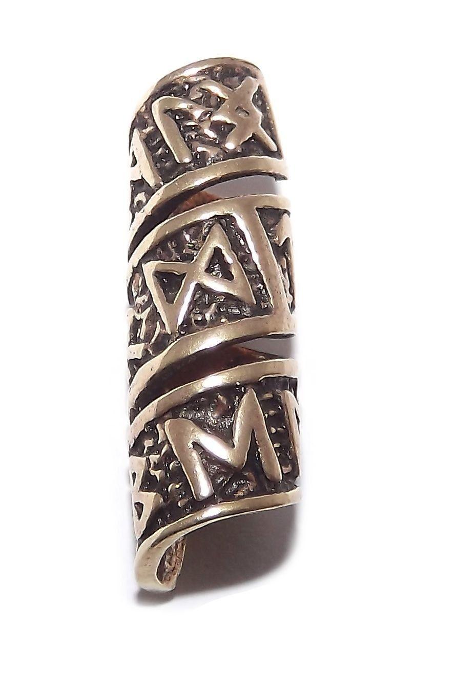 Viking Bronze Rune Beard Bead Ring Dreadlock Hair